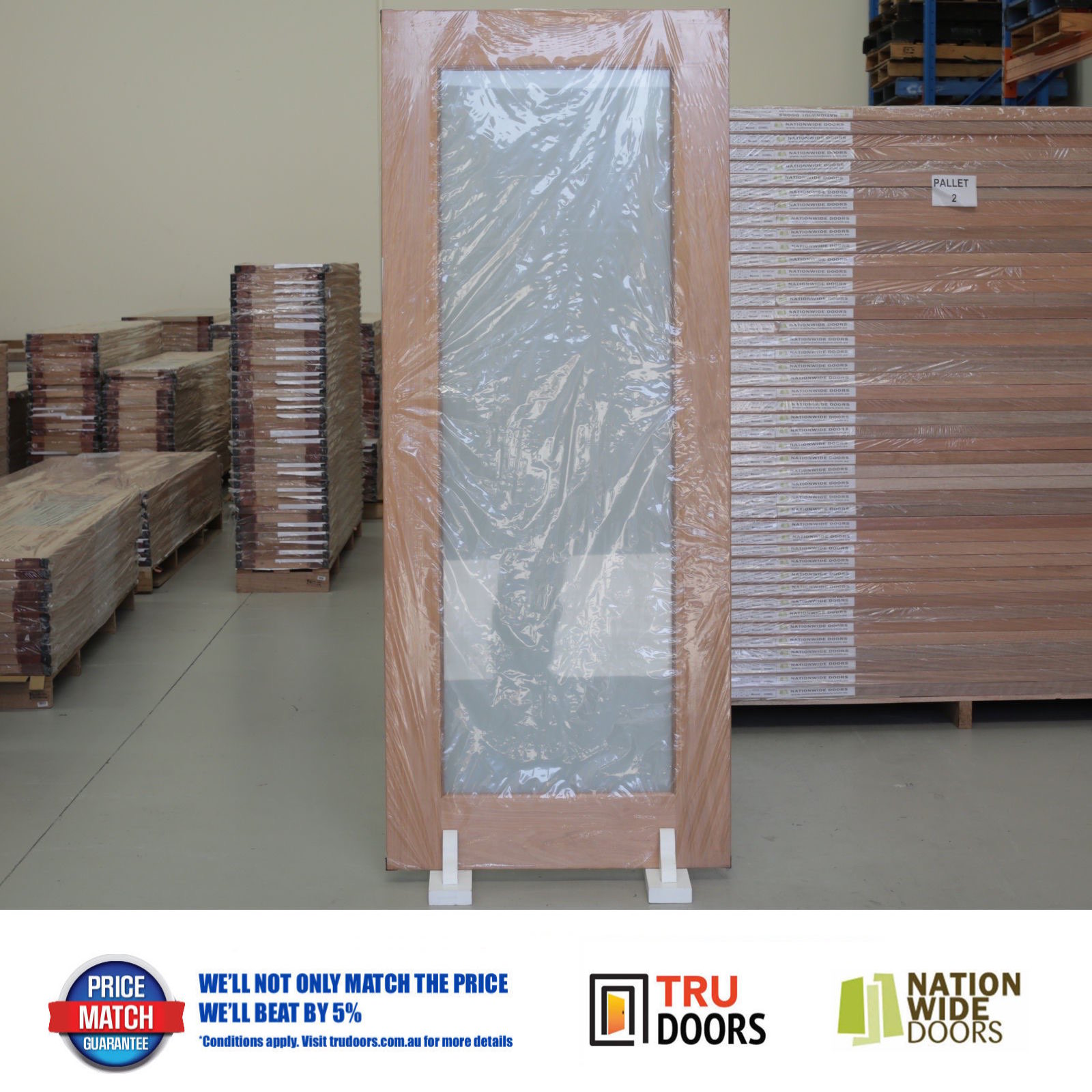Translucent Safety Glass French Solid Timber Doors Hardwood Pantry
