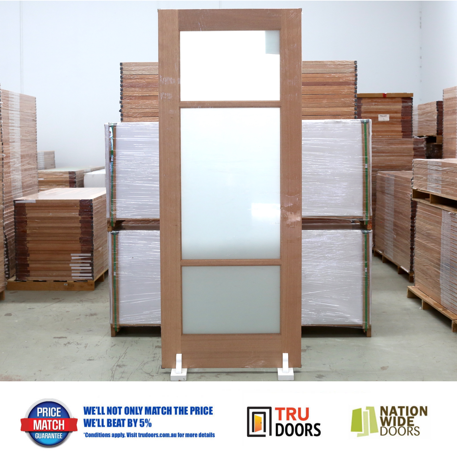 3 Lite Translucent Glass French Solid Timber Doors Pantry